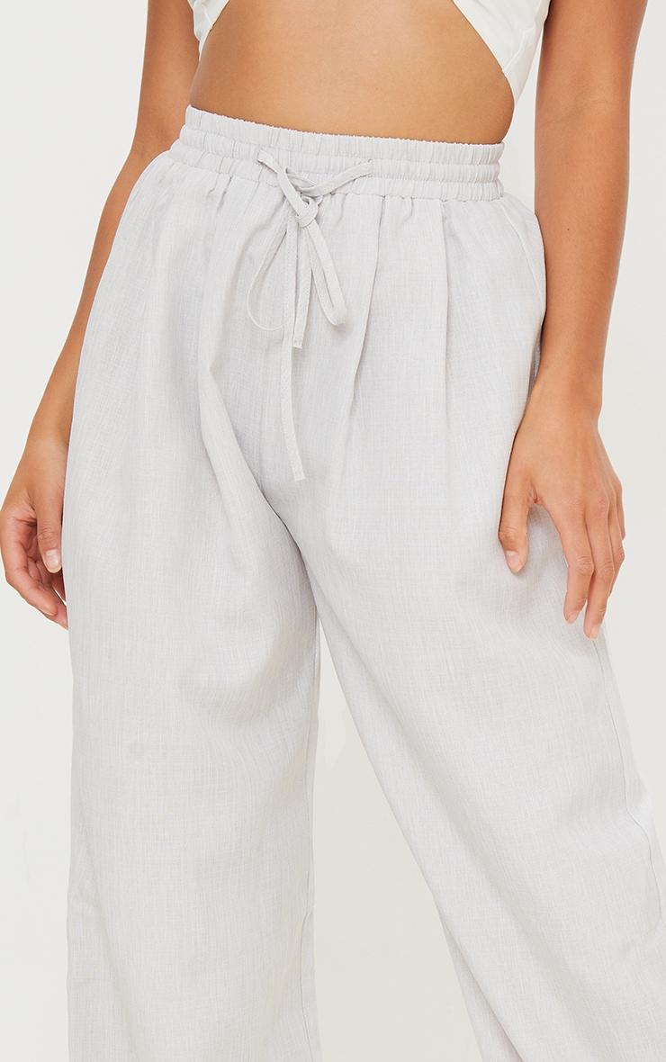 Petite Grey Casual Linen Feel Wide Leg Trousers 4