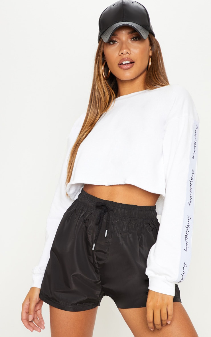 PRETTYLITTLETHING Ivory Raw Hem Crop Sweater 1