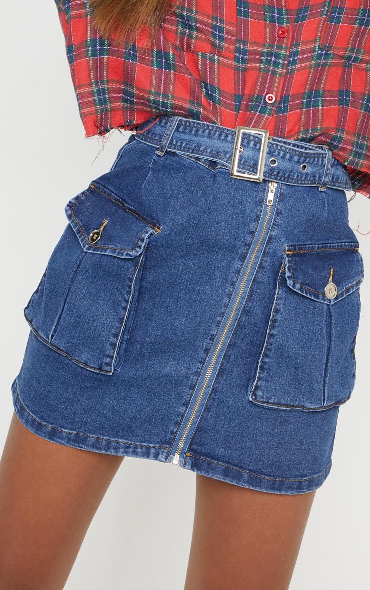 Mid Wash Cargo Pocket Belted Denim Skirt  6