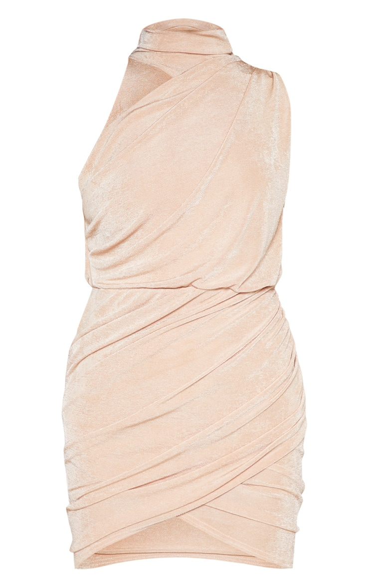 Champagne High Neck Ruched Side Bodycon Dress 4