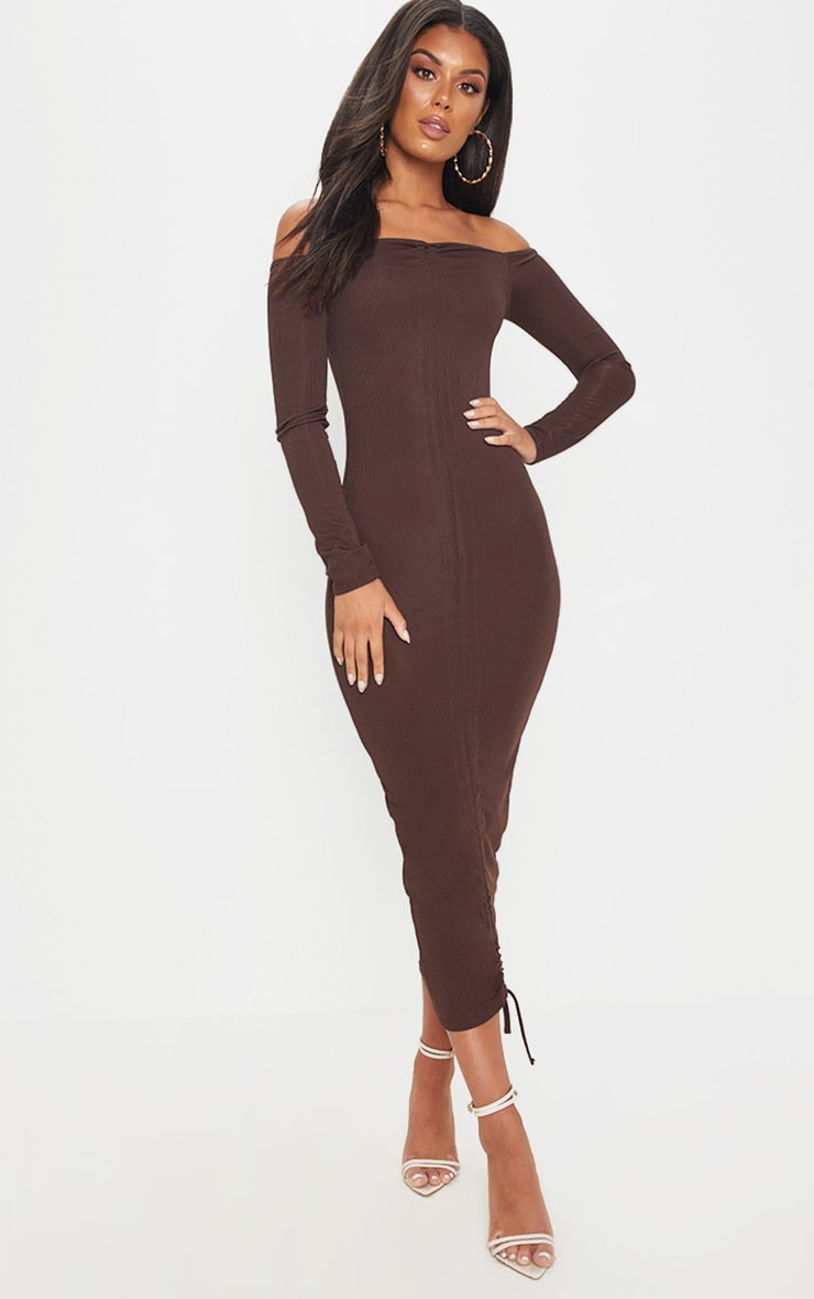 Chocolate Brown Ribbed Ruched Bardot Midi Dress 1