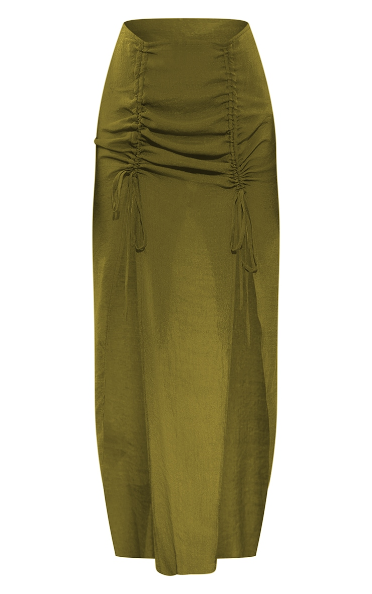 Olive Linen Look Ruched Front Maxi Beach Skirt 5