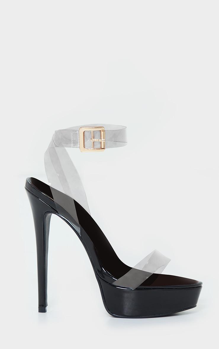 Black Patent Pu Platform Clear Strap High Heels 3