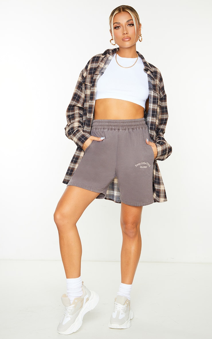 PRETTYLITTLETHING Brown Washed Sweat Shorts 4
