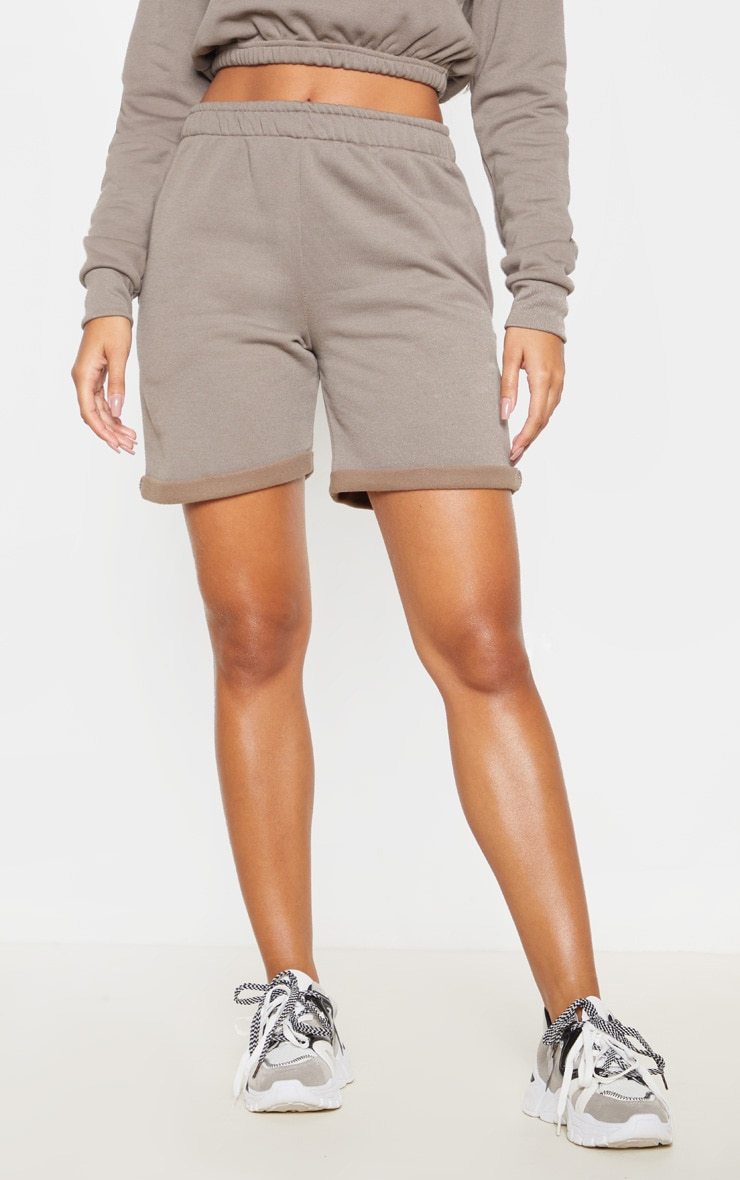 Grey Turn Up Longline Sweat Short 2