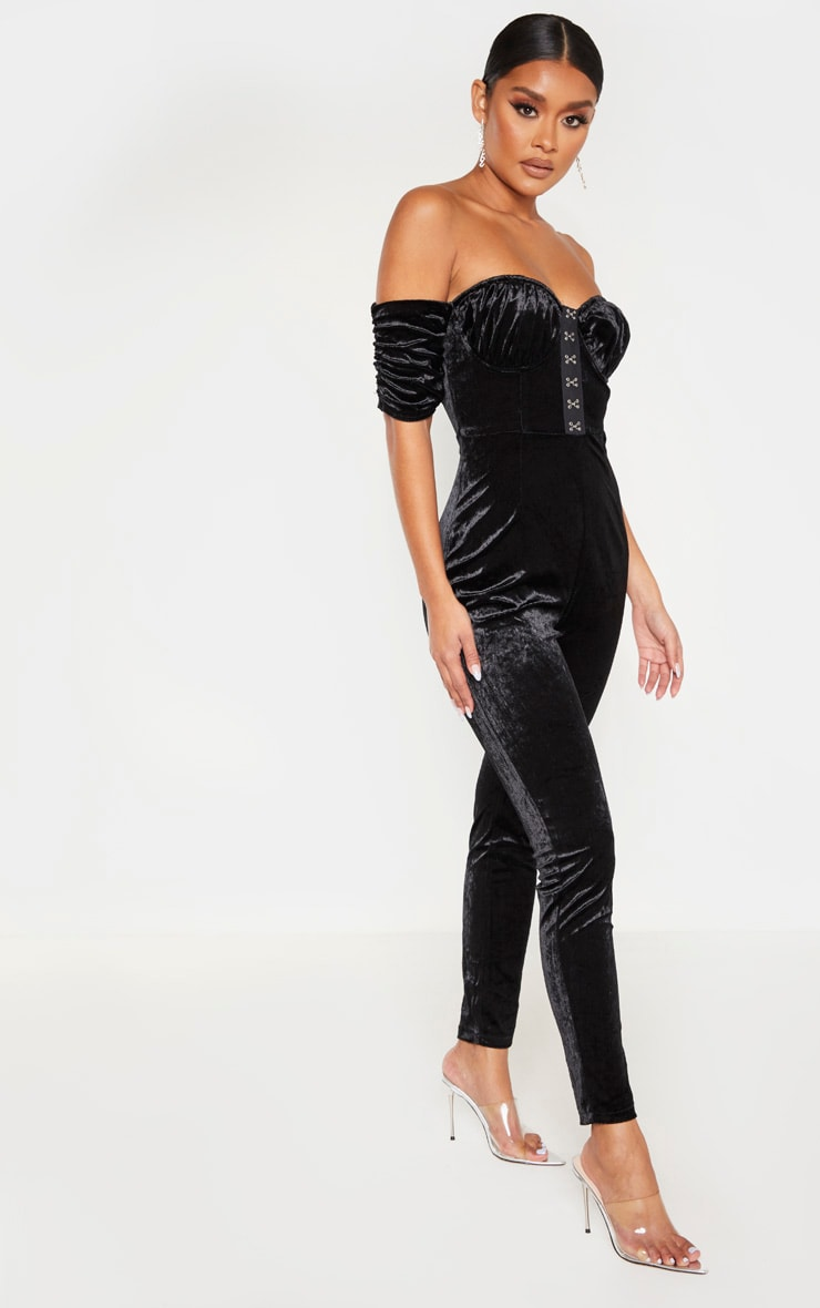 Black Velvet Hook And Eye Detail Bardot Jumpsuit 4