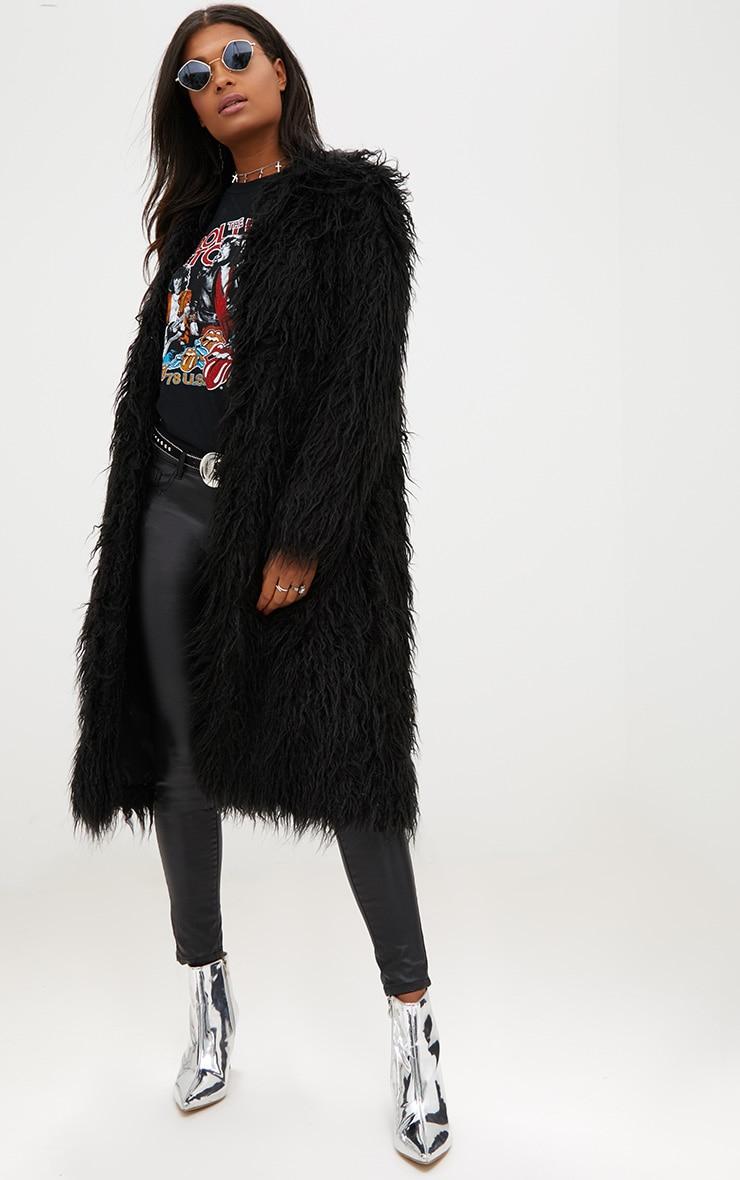 Black Shaggy Longline Faux Fur Coat 1