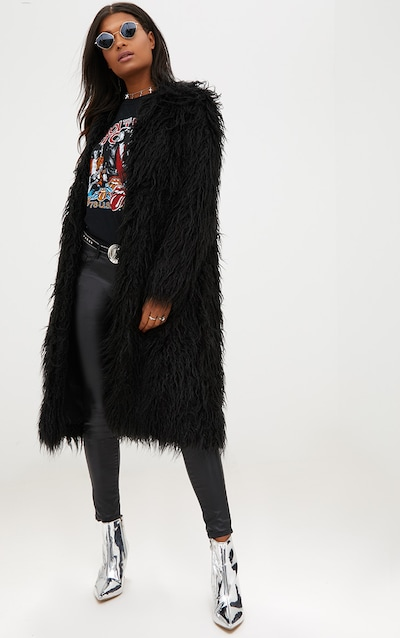 d17e3095e802f Black Shaggy Longline Faux Fur Coat