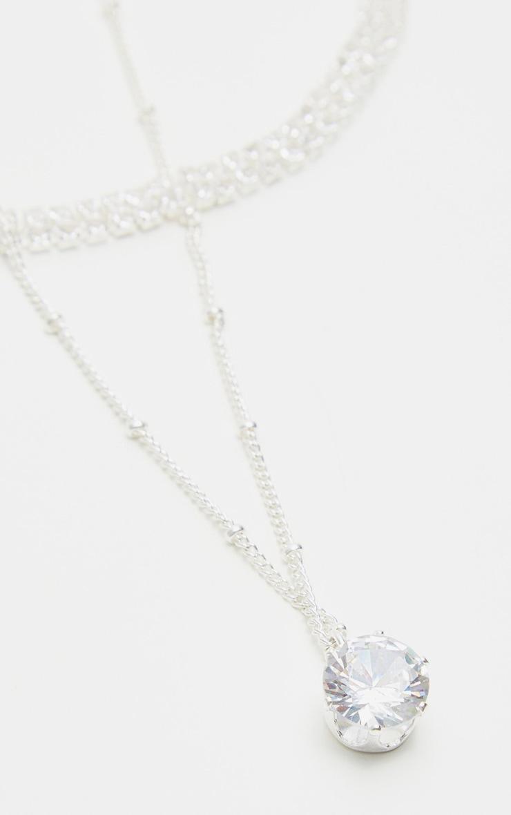 Sterling Silver Diamante Necklace 4