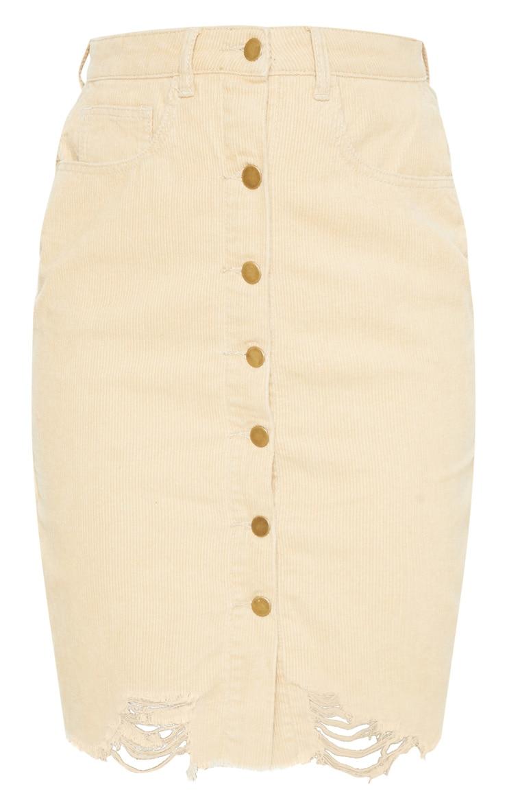 Stone Cord Button Through Distressed Denim Midi Skirt  3