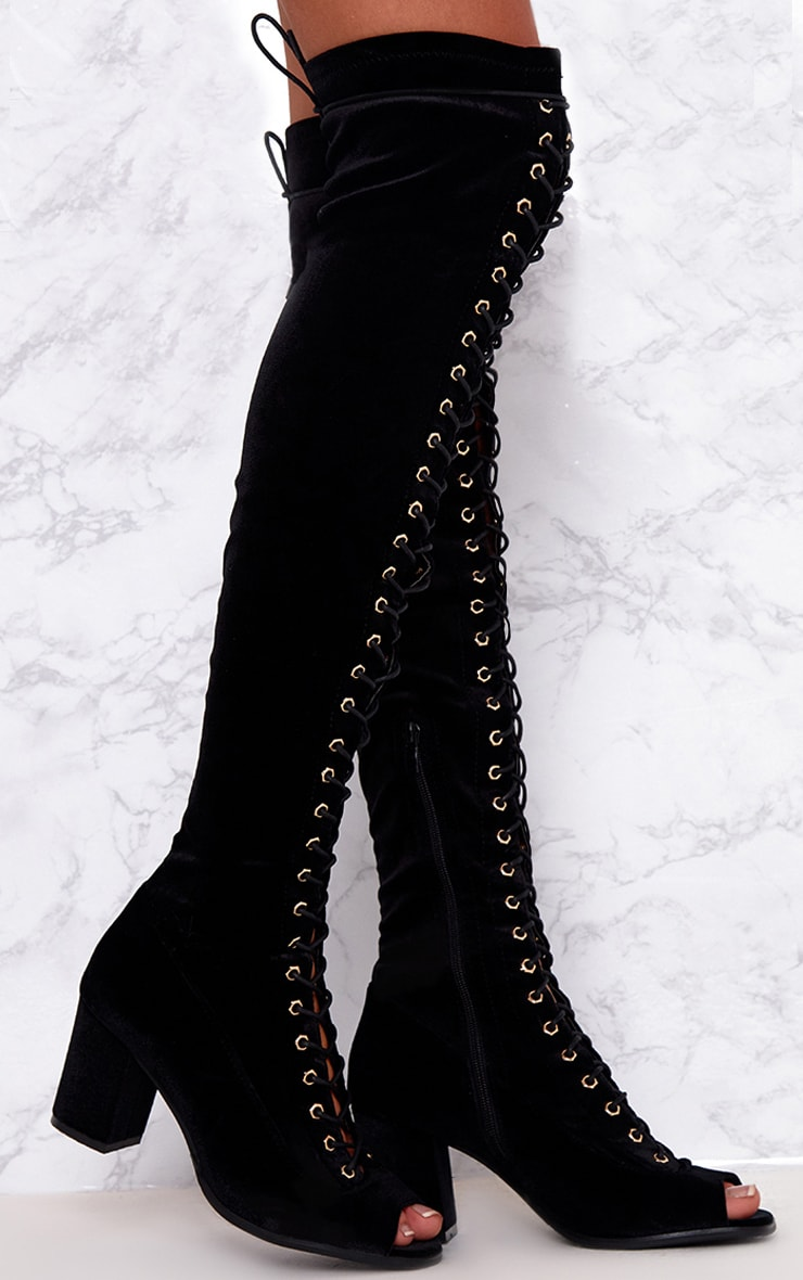 Black Velvet Lace Up Thigh High Boots  1