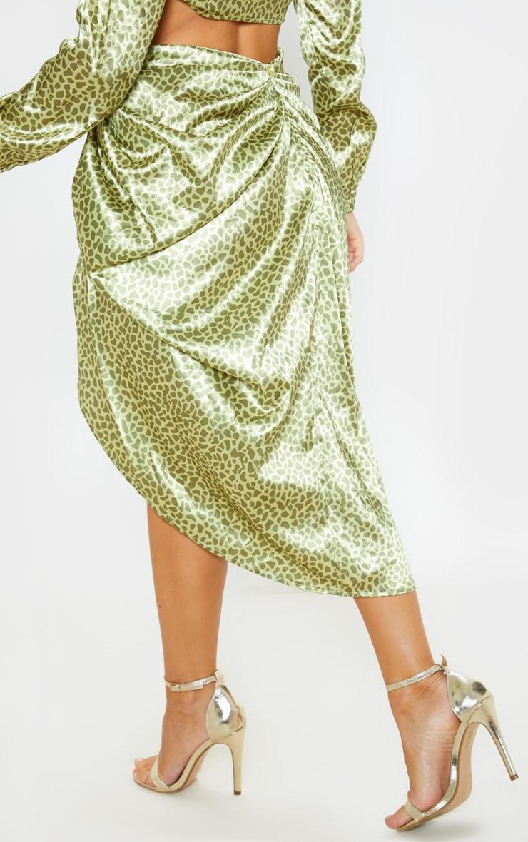 Yellow Giraffe Print Ruched Side Midi Skirt 4