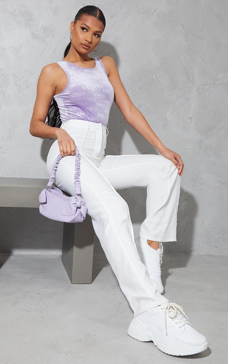 PRETTYLITTLETHING Lilac Velour Embossed Racer Neck Bodysuit 3