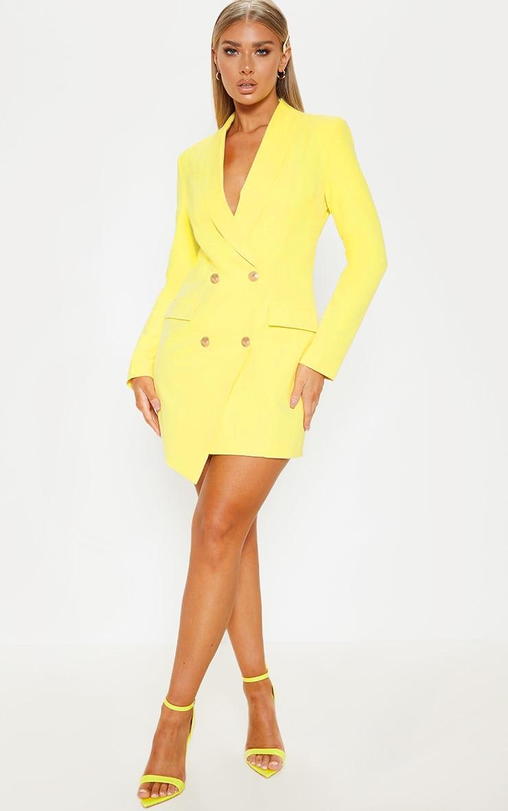 Lemon Gold Button Blazer Dress 4