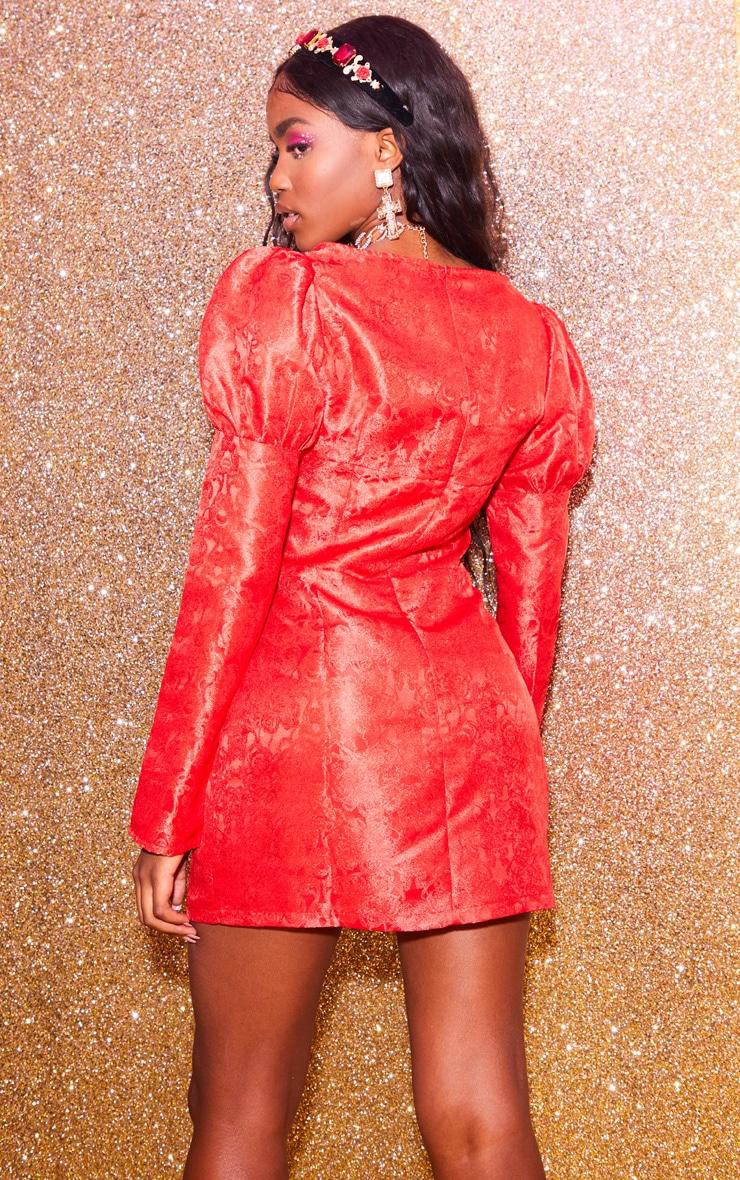 Red Jacquard Binding Detail Puff Sleeve Bodycon Dress 2