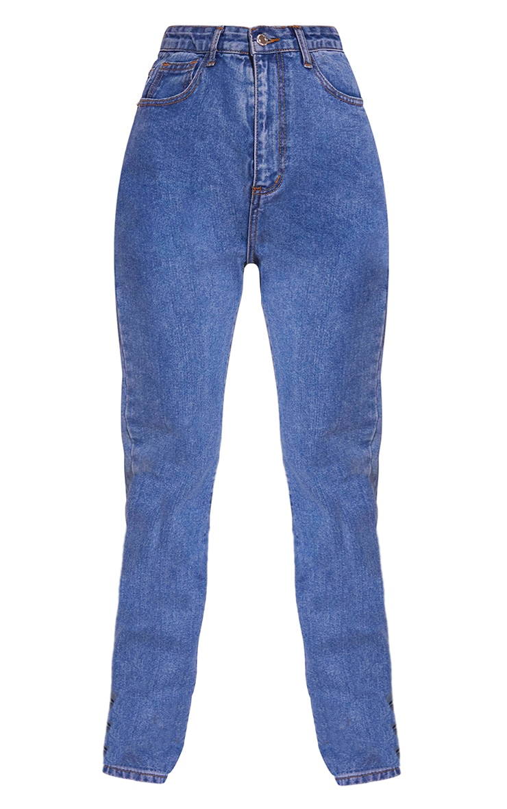 Mid Blue Wash Long Leg Straight Jeans 5