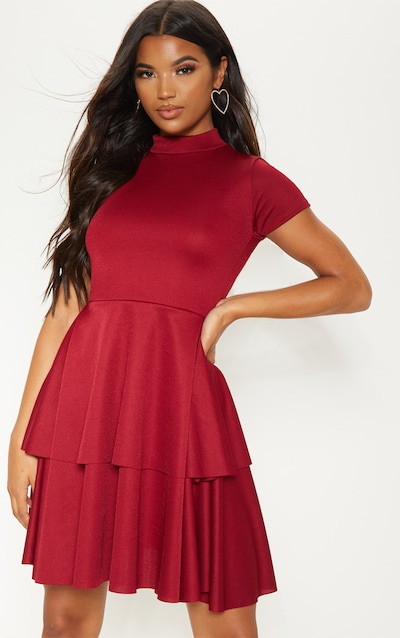 Scarlet High Neck Tiered Skater Dress