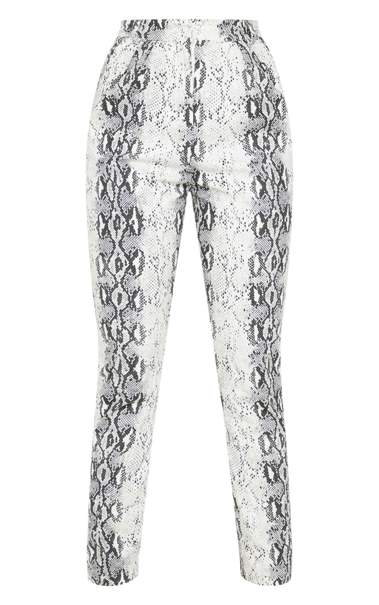 Petite Grey Snake Print High Waist Straight Leg Trousers 3