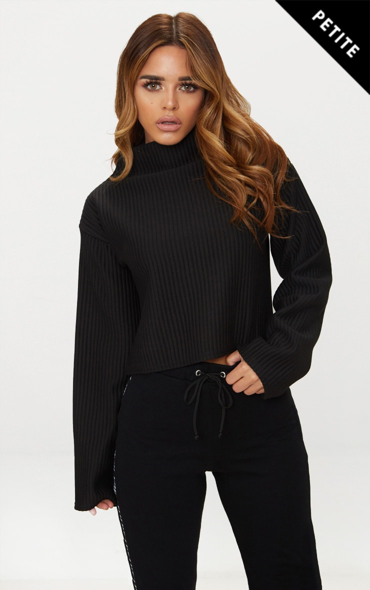 Petite Black Jumbo Rib High Neck Sweater 1
