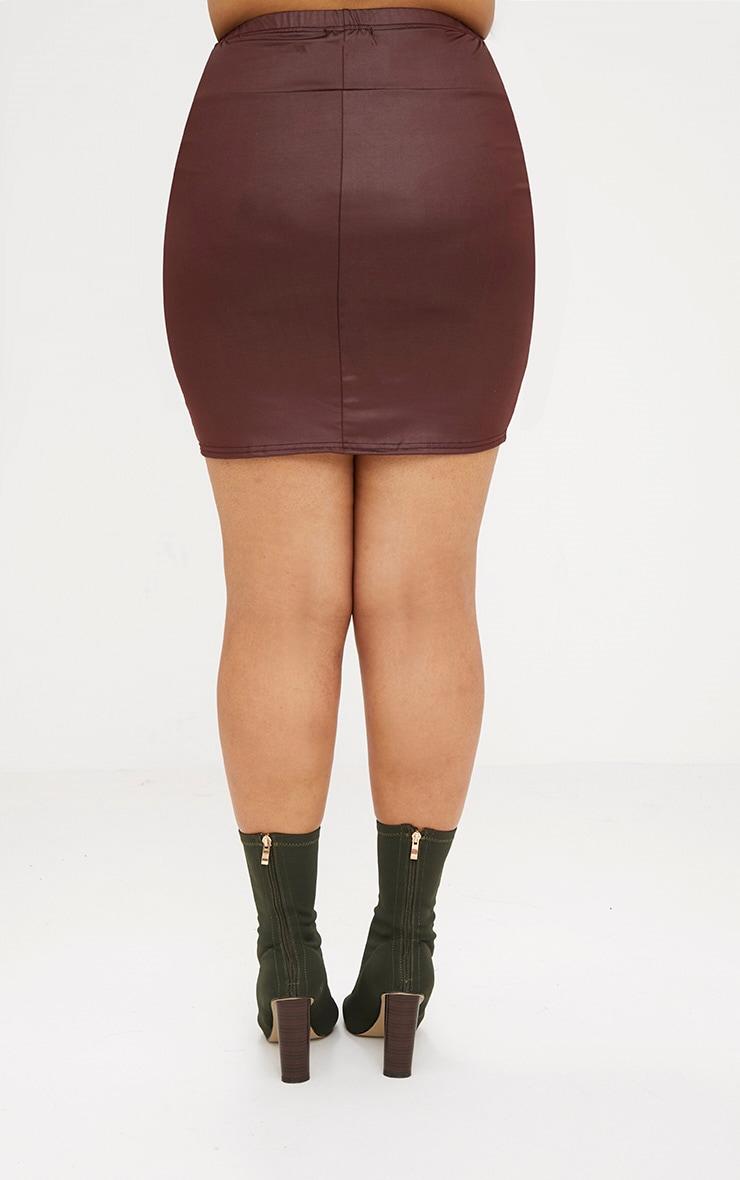 Plus Maroon Leather Look Mini Skirt 4