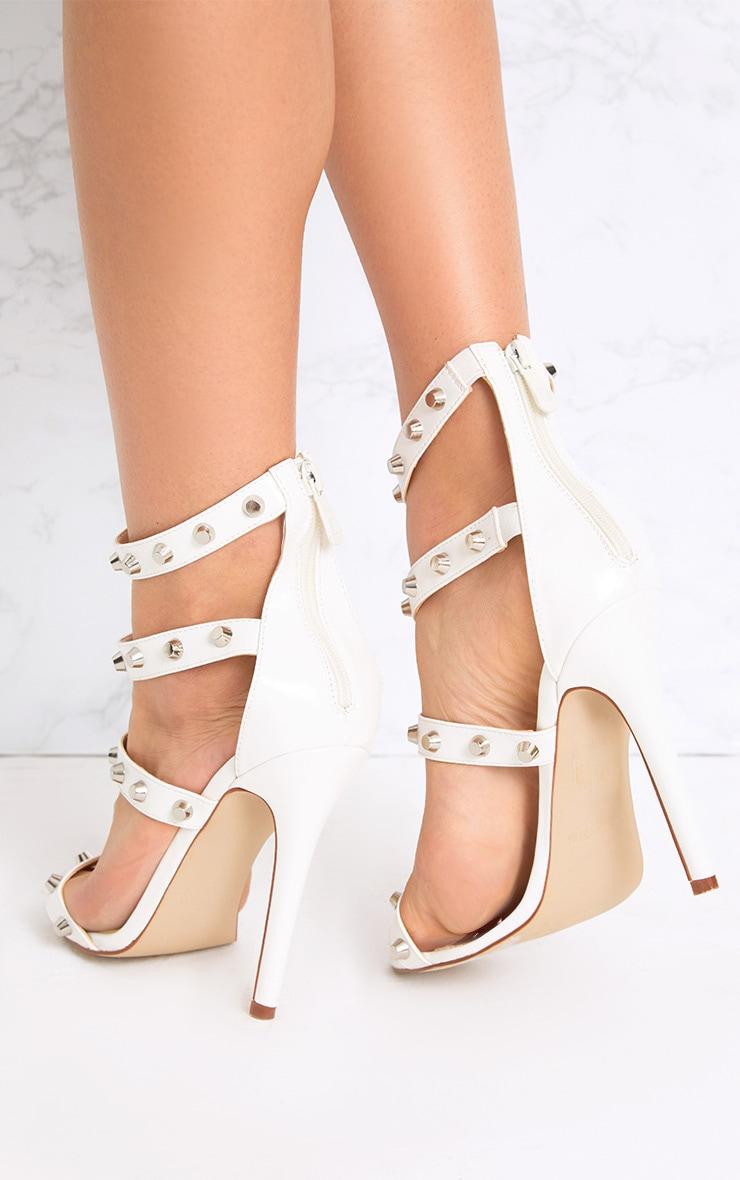 Latasha White Studded Strappy Heels 3