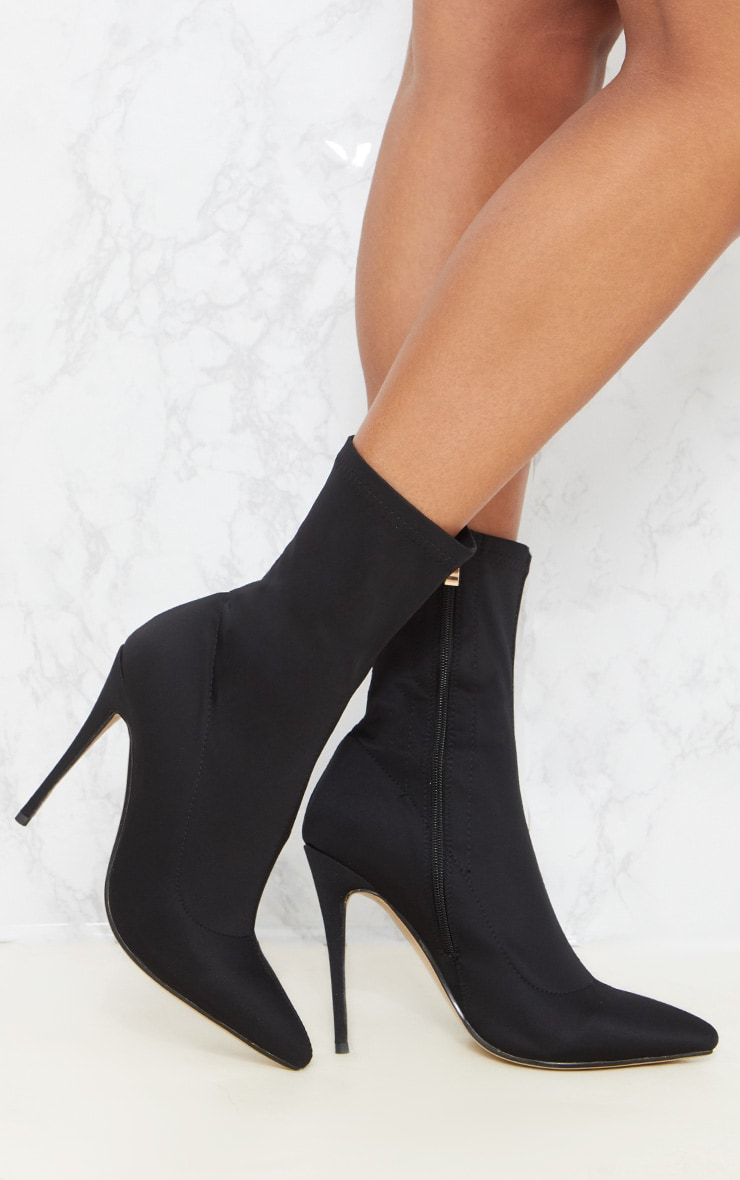 Black Lycra Sock Heeled Boot