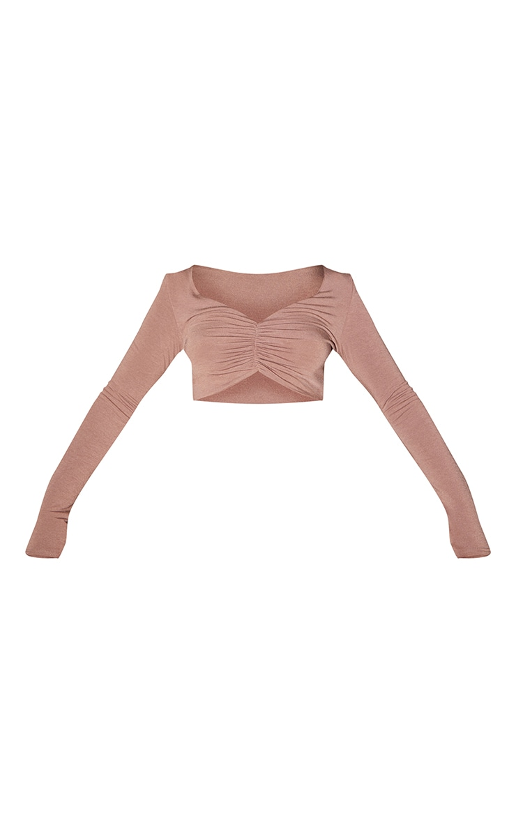 Recycled Chocolate Contour Jersey Ruched Front Crop Top 5
