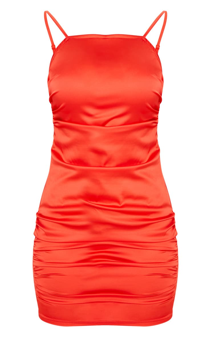 Red Ruched Strappy Satin Bodycon Dress 3