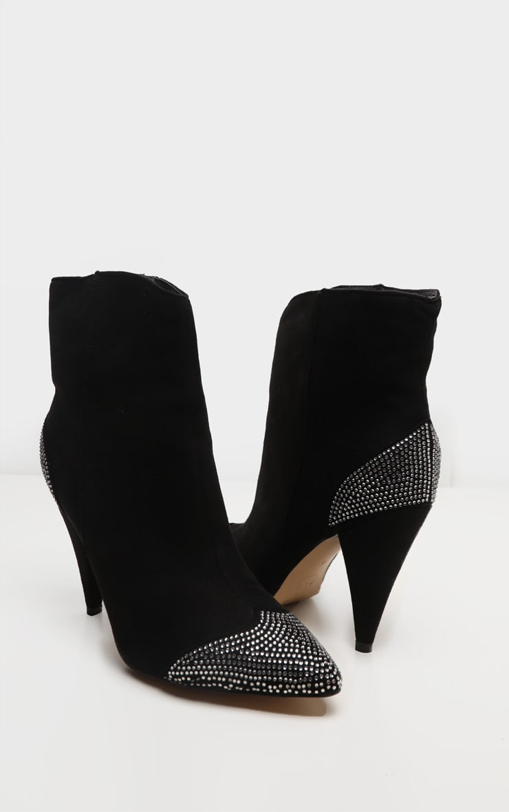 Black Diamante Toe Cone Heel Ankle Boot 3