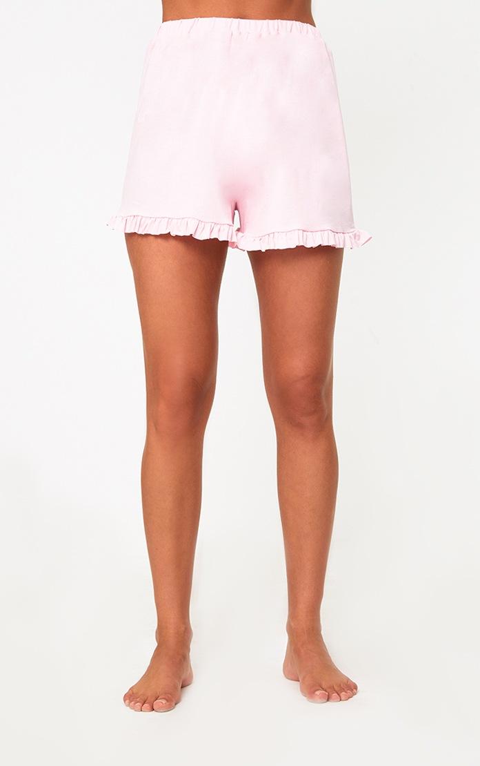 Baby Pink Bride Ruffle Hem PJ Set  5