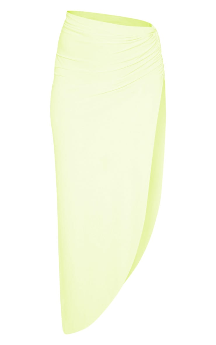 Neon Yellow Ruched Side Split Midaxi Skirt 3