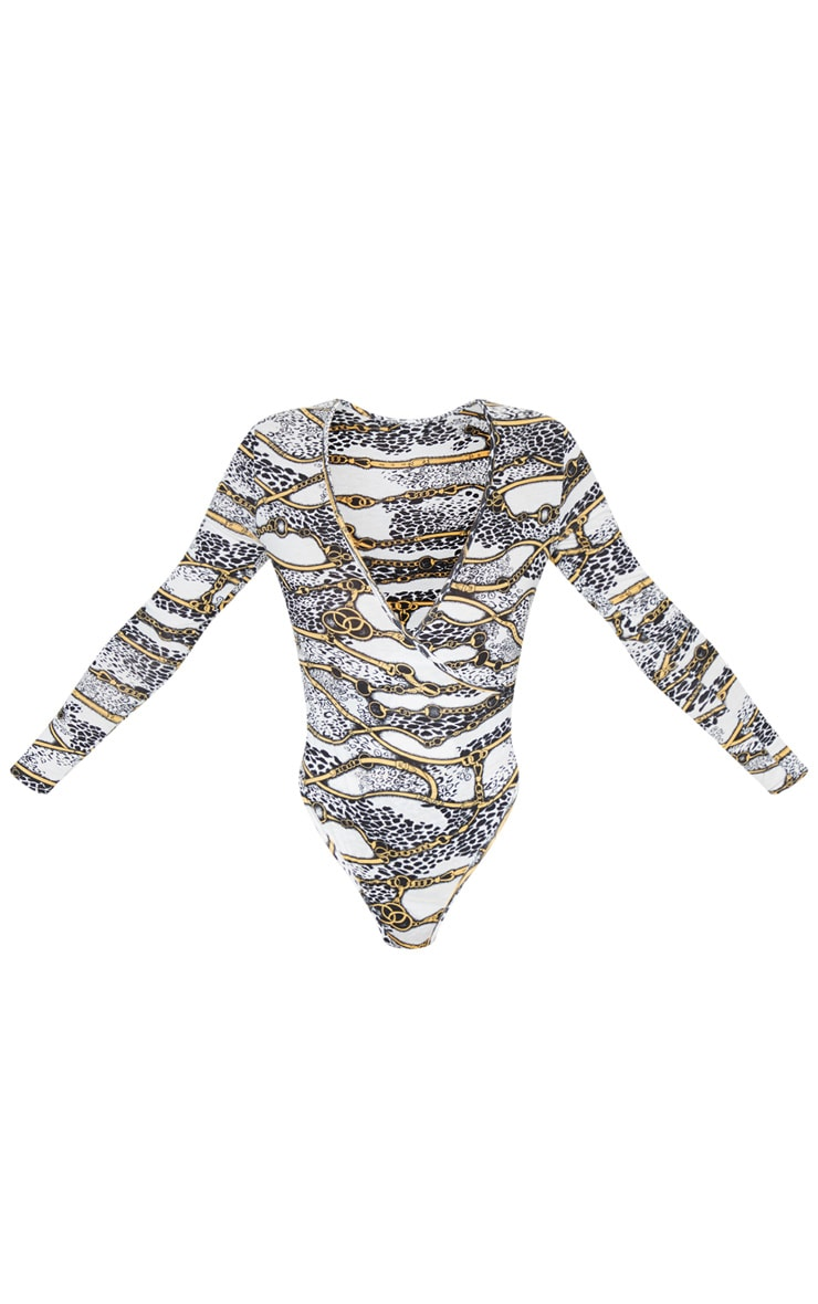 White Chain Printed Wrap Long Sleeve Bodysuit 5