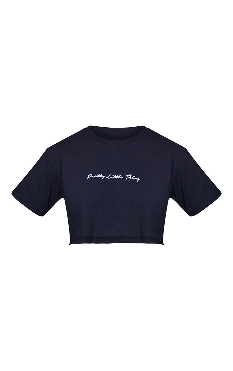 PRETTYLITTLETHING Petite - T-shirt court noir à slogan 5