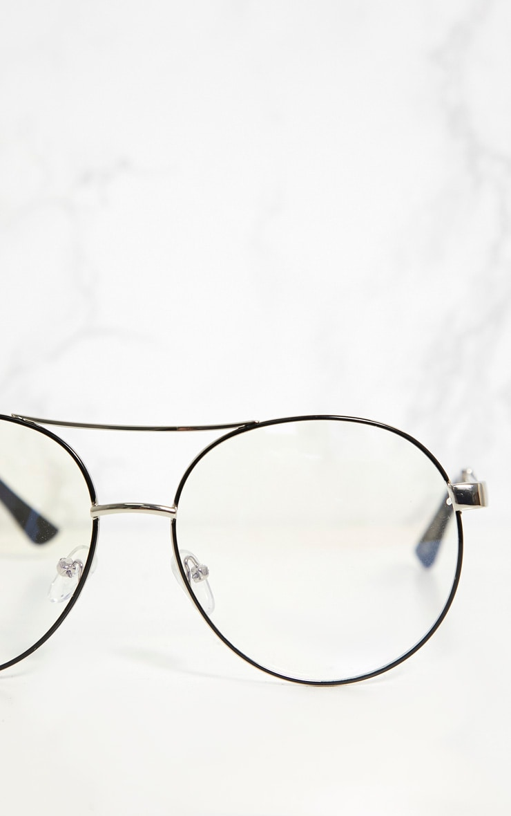 Silver Aviator Metal Clear Lensed Glasses 4