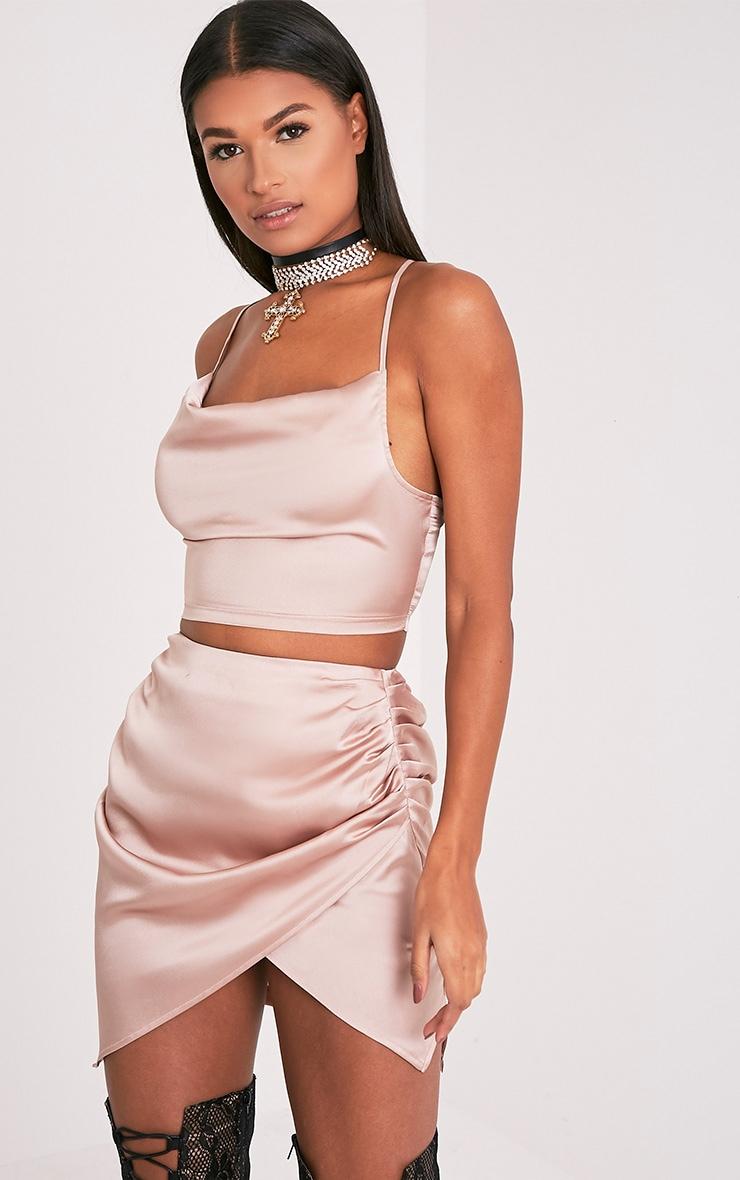Aras Champagne Satin Ruched Mini Skirt 3