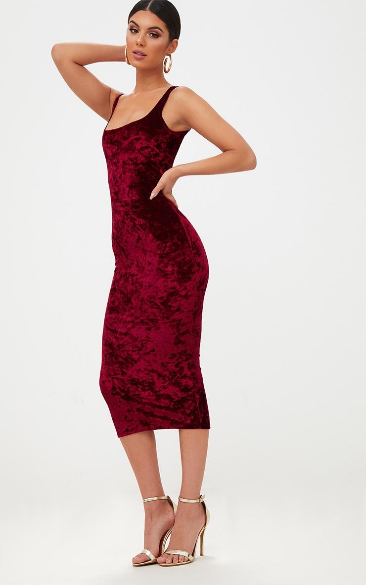 Wine Square Neck Velvet Midaxi Dress 4