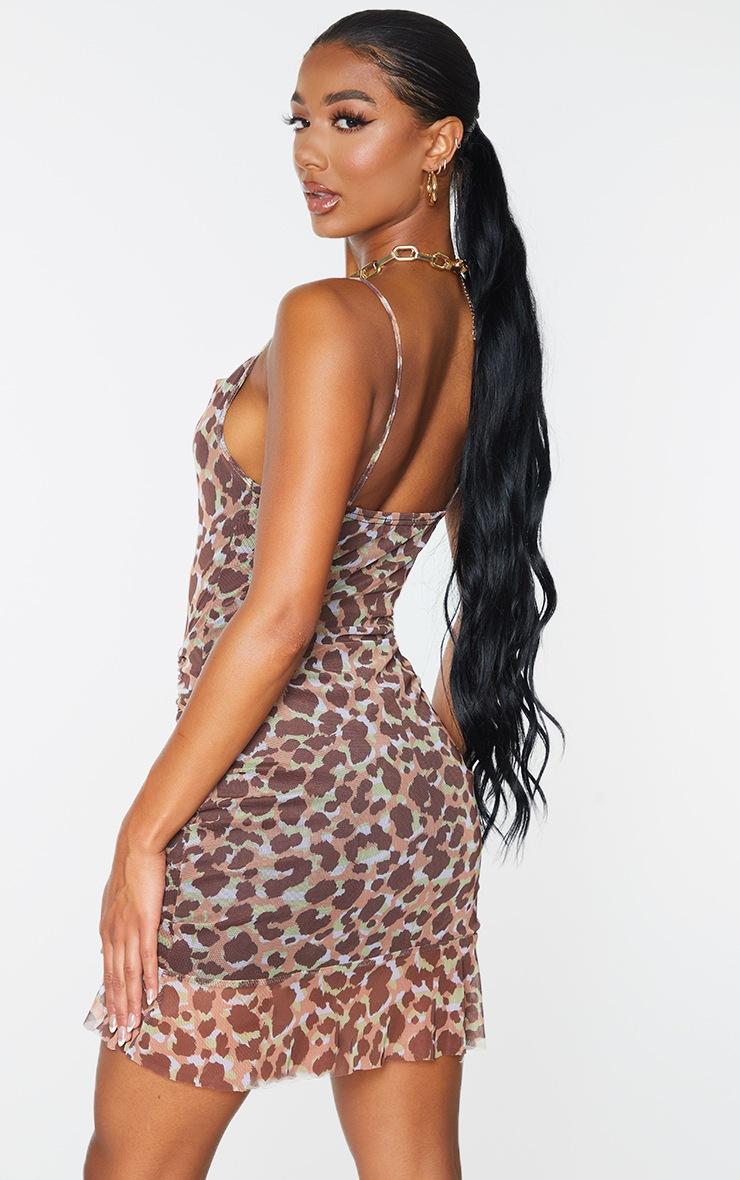 Multi Mesh Leopard Print Ruched Bodycon Dress 2