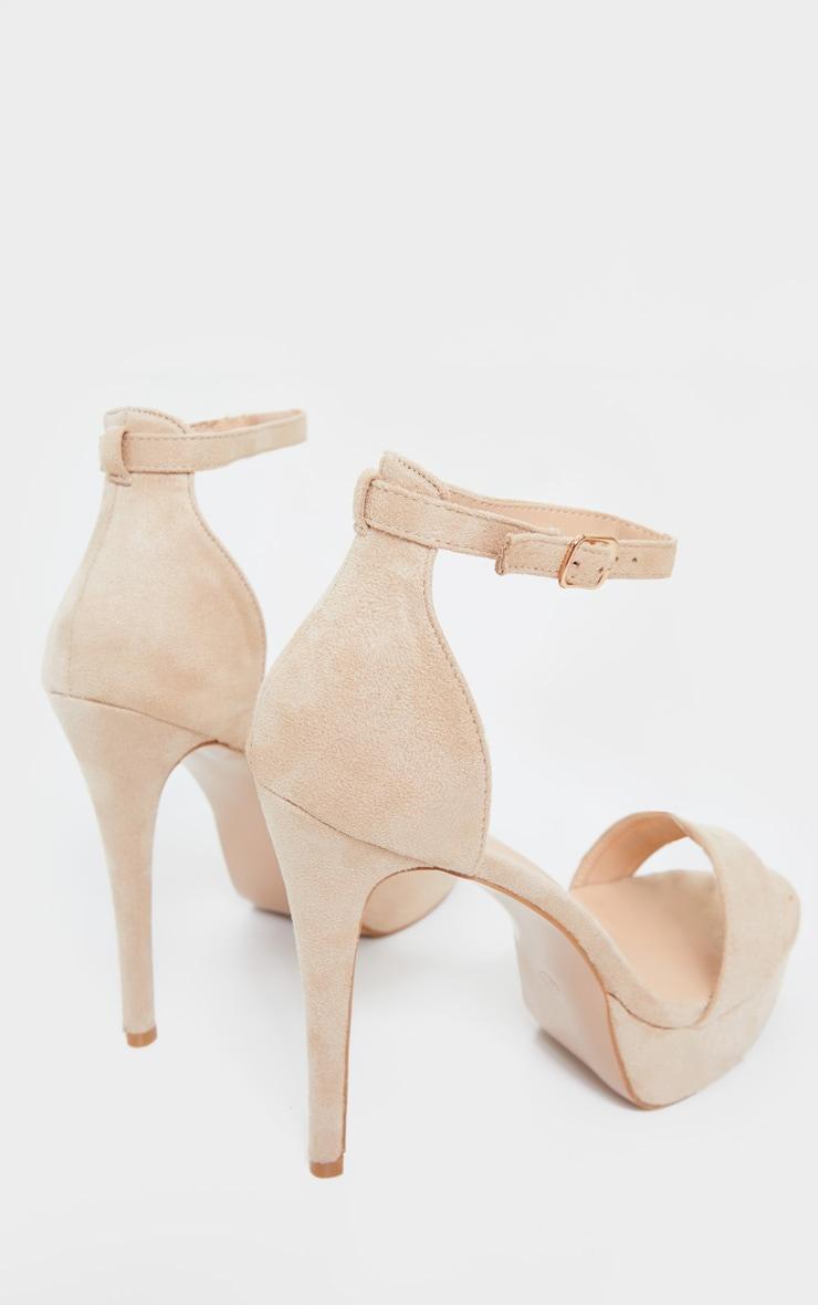 Nude Faux Suede Platform Heeled Sandals 4