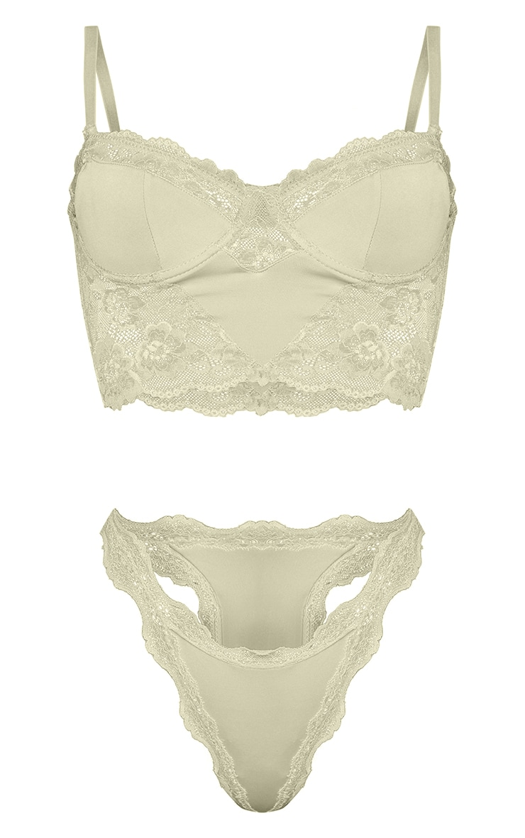 Sage Green Lace Underwired Bralet And Thong Lingerie Set 5