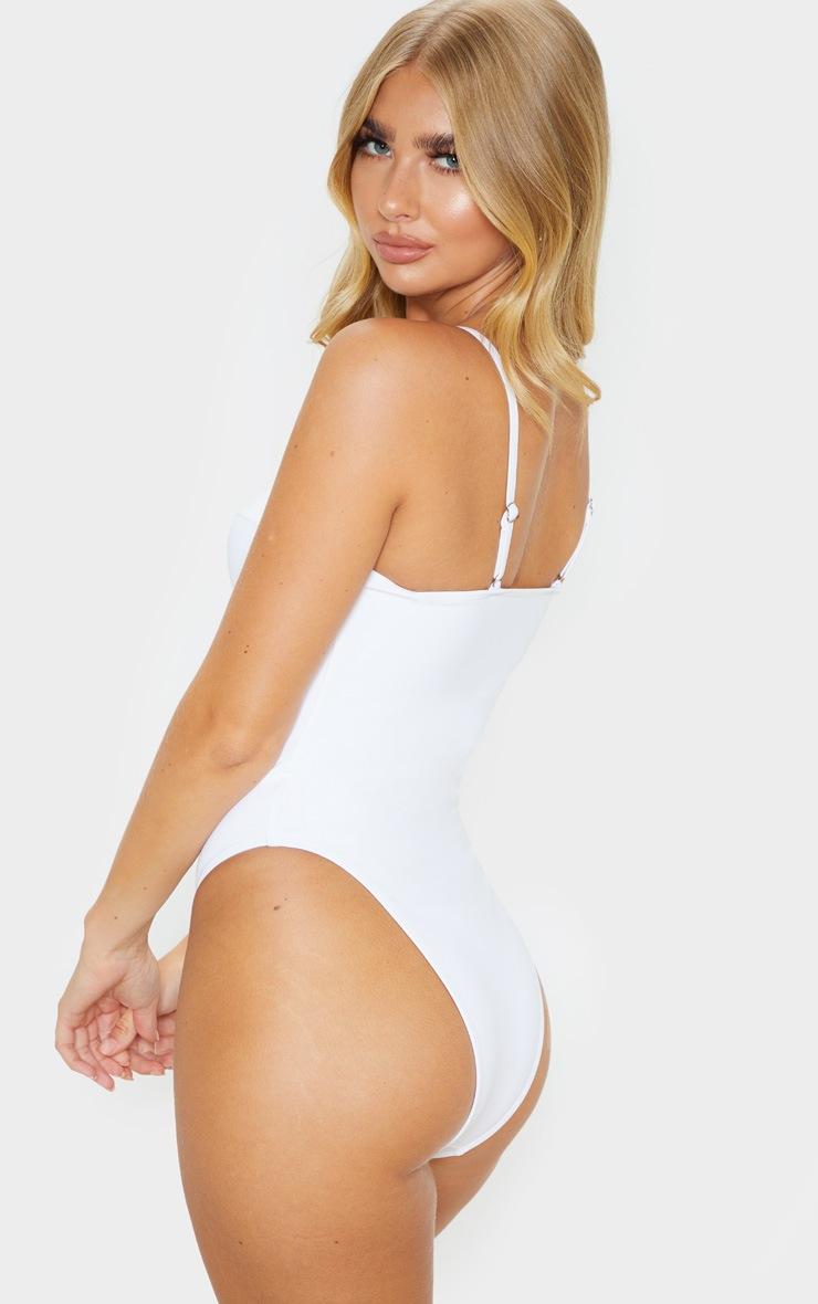 Cream Zip Up Cupped Scuba Swimsuit 2
