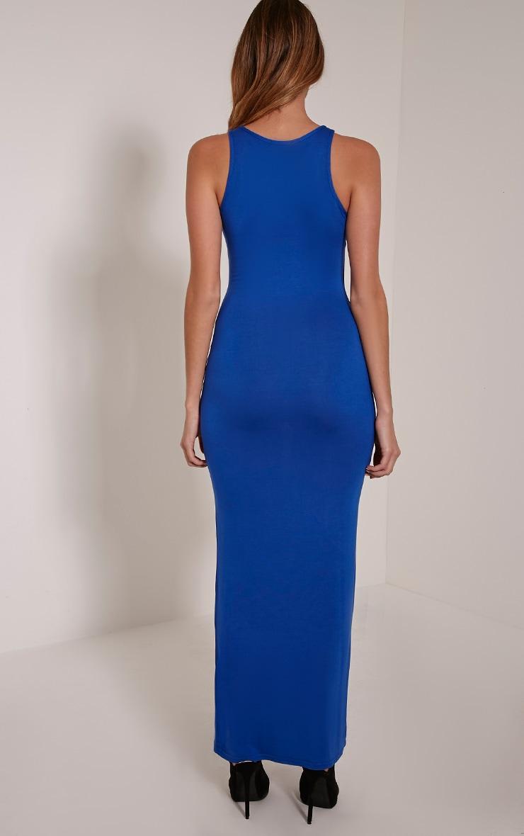 Basic Cobalt Racer Neck Maxi Dress 2