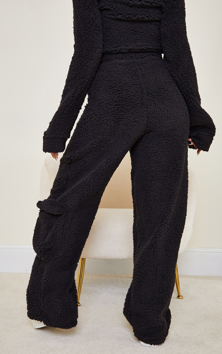 Petite Black Soft Borg Wide Leg Pocket Detail Joggers 3