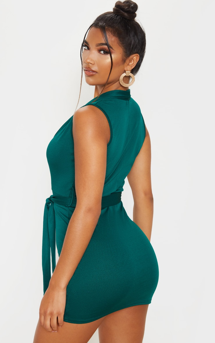 Emerald Green Lapel Detail Plunge Bodycon Dress 2