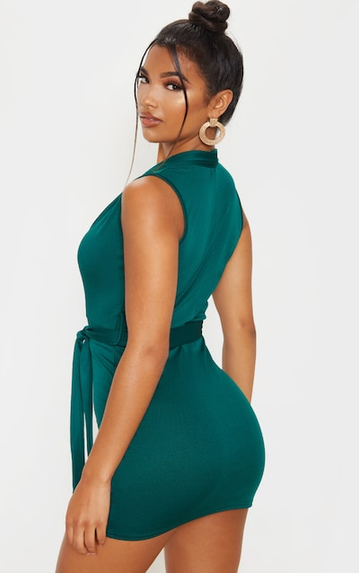 Emerald Green Lapel Detail Plunge Bodycon Dress