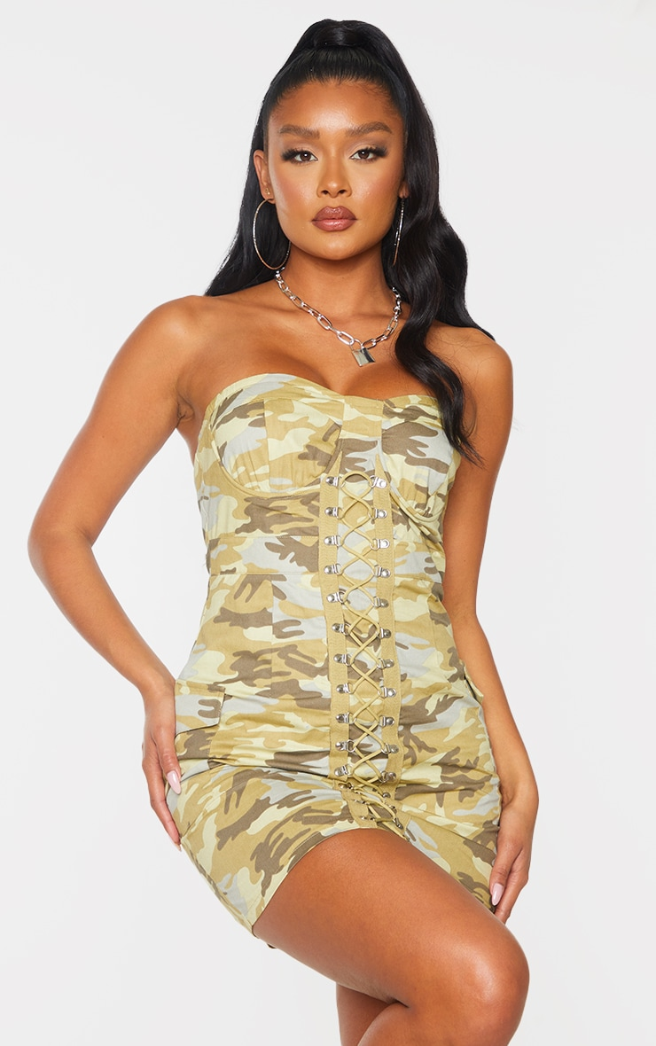 Green Camo Lace Up Detail Underwired Bandeau Bodycon Dress 3