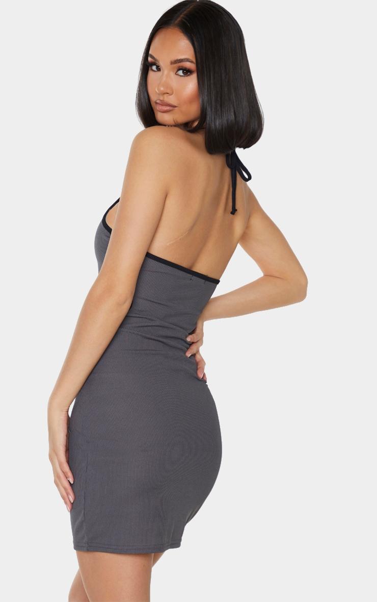 Grey Rib Contrast Trim Halterneck Cut Out Waist Bodycon Dress 2