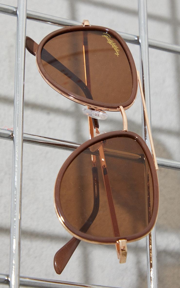 PRETTYLITTLETHING Brown Oversized Brown Lens Aviator Sunglasses 2