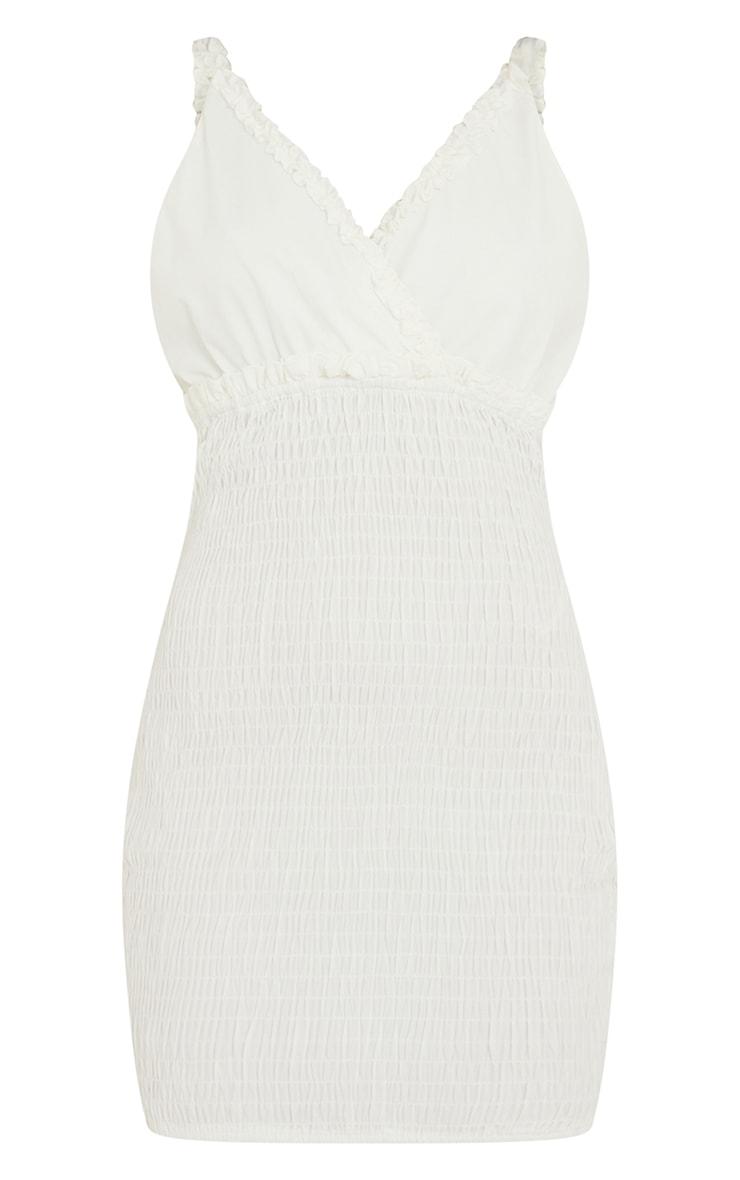 White Shirred Strappy Woven Bodycon Dress 5