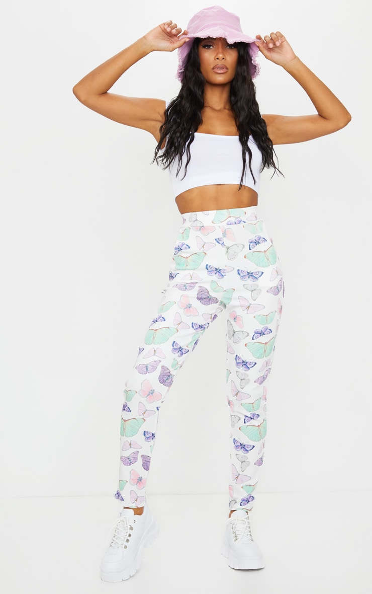 White Butterfly Print Skinny Pants 1