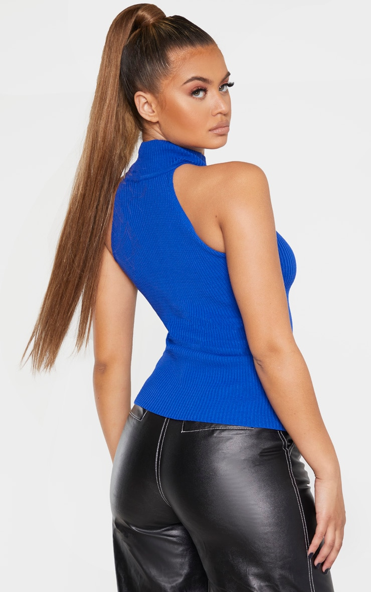 Cobalt High Neck Knitted Sleeveless Top 2